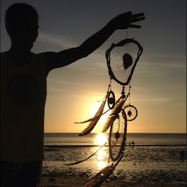 Catching Dreams by Dickson   Shia - Artistic Objects Other Objects ( silhouette, sunset, sea, dream catcher )