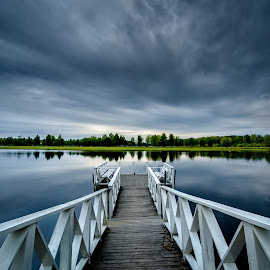Jetty by Johan Lennartsson - Landscapes Waterscapes ( reflection, blue, green, cloudy, lake, jetty, morning, river )