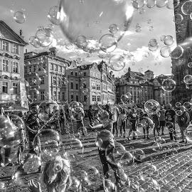 Bubbles by Arif Sarıyıldız - Black & White Street & Candid ( historical clock, czech, bubbles, travel, prague )
