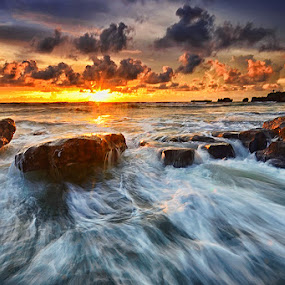 Icy Beach by Hendri Suhandi - Landscapes Waterscapes ( bali, sunset, mood, beach, motion )