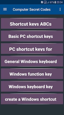 Computer Secret Codes Screenshot