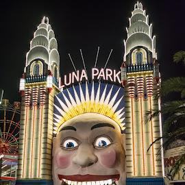Luna Park by Sarah Shinners - City,  Street & Park  Amusement Parks ( amusement park, australia, night, long exposure, nsw, luna park, sydney )