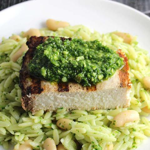 Orzo with Grilled Swordfish and Kale Pesto
