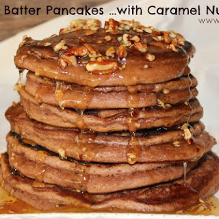 ~Brownie Batter Pancakes …with Caramel Nut Butter!