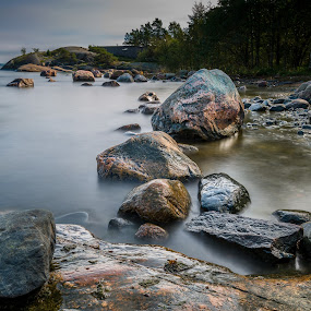 Stones in the sea by Juha Kauppila - Landscapes Waterscapes ( water, many, sky, pihlajasaari, blue, sea )