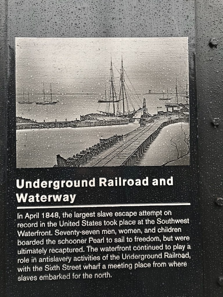 Underground Railroad and WaterwayIn April 1848, the largest slave escape attempt on record in the United States took place at the Southwest Waterfront. Seventy-seven men, women, and children boarded ...