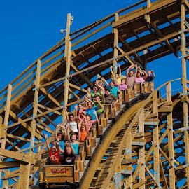 wooden drop by Michael Graham - City,  Street & Park  Amusement Parks ( wooden roller coaster, kemah, amusement park, houston, texas, theme park, roller coaster, wooden coaster,  )