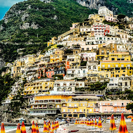 Beach at Positano by Richard Michael Lingo - Landscapes Beaches ( positano, amalfi coast, beach, landscape, italy )