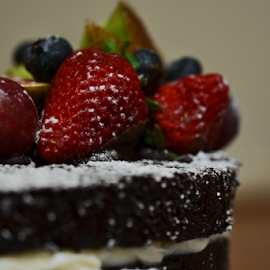 Fruit On The Top by Kamila Romanowska - Food & Drink Candy & Dessert ( chocolade, cake, sweet, tort, food, strawberry, dessert )
