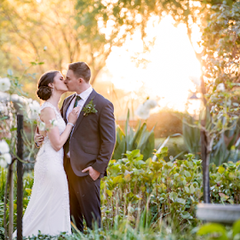 Garden Kiss by Lood Goosen (LWG Photo) - Wedding Bride & Groom ( wedding photography, bride and groom, bride groom, sunset, weddings, wedding day, wedding photographers, wedding, married )