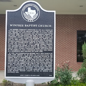 The Winfree community originated in 1831 as a ranch of the early Texas settler Abraham Winfree. By 1914, the area had grown in population and the scattered rural churches were not adequate for the ...