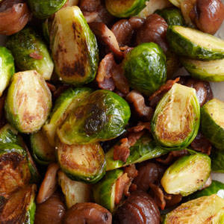 Brussels Sprouts with Bacon with Roasted Chestnuts Recipe | Yummly