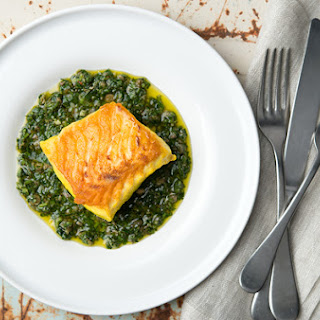 Saffron Halibut with Italian Salsa Verde