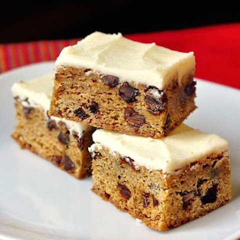 Chocolate Chip Cherry Bars with Cream Cheese Frosting