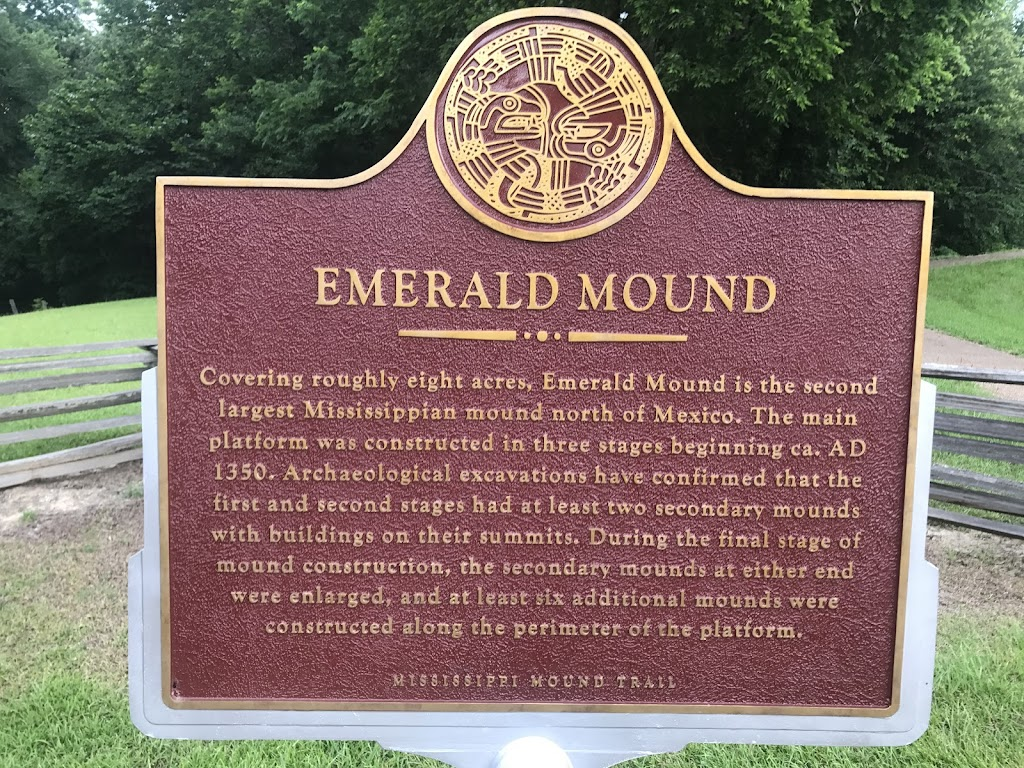 Covering roughly eight acres, Emerald Mound is the second largest Mississippian mound north of Mexico. The main platform was constructed in three stages beginning ca. AD 1350. Archaeological ...