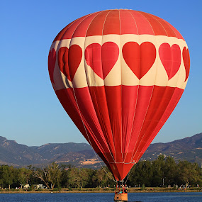 Love to Fly! by Jen Millard - Transportation Other ( mountains, heart, colorado, hot, air, lake, balloon )