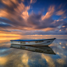 Under the Draged Clouds by Bayu Adnyana - Transportation Boats ( clouds, karang, bali, cloudscape, beach, transportation, boat )