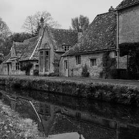 Reflecting by the river by James Booth - Black & White Buildings & Architecture ( uk, reflection, village, cottage, reflections, villages,  )
