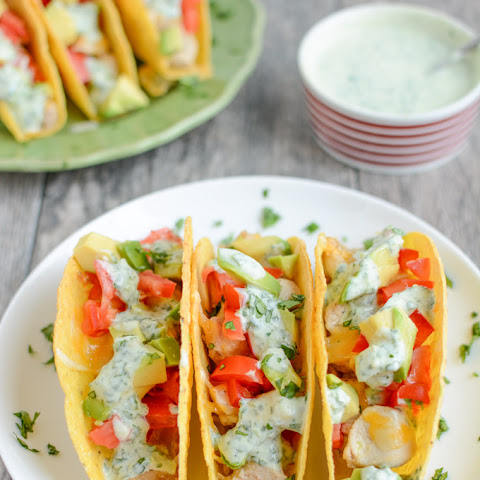 Baked Chicken Tacos with Creamy Cilantro Sauce