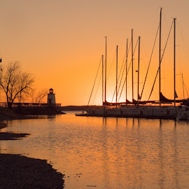 Sunset Landing by Luke Gray - Landscapes Travel ( sailboats, sunset, boats, lighthouse, golden hour )