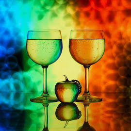 Tye Dyed by Lisa Hendrix - Artistic Objects Other Objects ( water, reflection, still life, apple, colors, glass, artistic, refraction, wine glasses, rainbow )