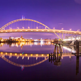 Fremont Bridge Panoramic by Rich Voninski - Buildings & Architecture Bridges & Suspended Structures