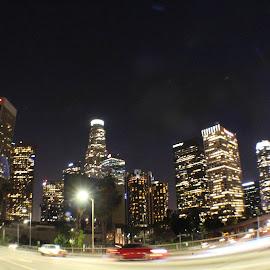 LA night lights by Alexz Hernandez - City,  Street & Park  Skylines ( city scape, la downtown, city lights, los angeles, cityscape, city skyline )