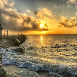 Fishin Sunday by Etta Cox - Landscapes Sunsets & Sunrises ( beach sunrise ocean rocks sillorette clouds sun )