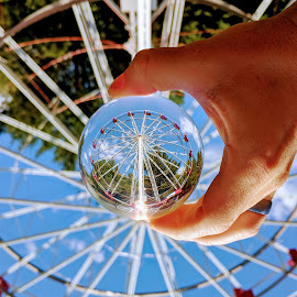 Lens ball ferris wheel by Jeff McVoy - Artistic Objects Other Objects ( lens ball, ball, ferris wheel, sphere, crystal, amusement park, fun, summer )