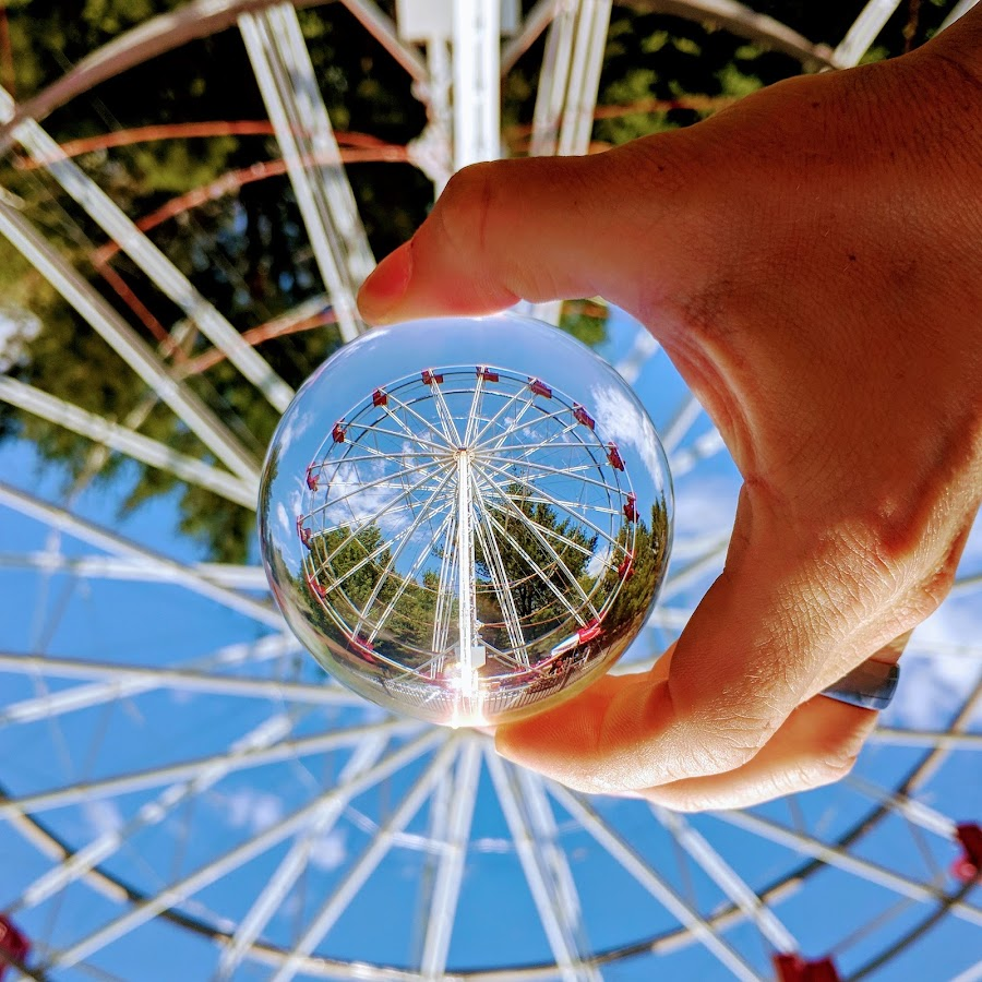 Lens ball ferris wheel by Jeff McVoy - Artistic Objects Other Objects ( lens ball, ball, ferris wheel, sphere, crystal, amusement park, fun, summer )