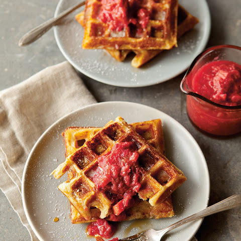 Raised Waffles with Strawberry-Rhubarb Compote