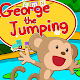 A monkey George jumps happy