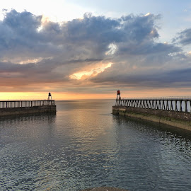 Piers at sunset by Sue Walker - Landscapes Waterscapes ( piers, waterscape, sunset, whitby, seascape )