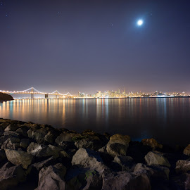 City on the bay by Argun Tekant - City,  Street & Park  Skylines ( water, skyline, sf, night, city, city at night, street at night, park at night, nightlife, night life, nighttime in the city )