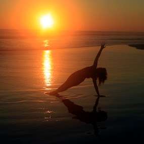 Beauty at sunset by Cristobal Garciaferro Rubio - People Fine Art ( water, shore, sand, sunset, sea, lady, beauty, yoga )