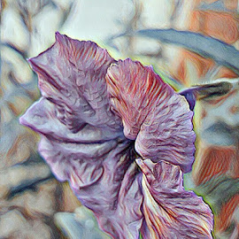 Purple blossom  by Hayley Moortele - Digital Art Things ( #digitalart, #purples, #phototodrawing, #nature, #purpleflower )