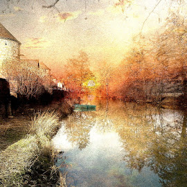 Rivendell by Bjørn Borge-Lunde - Digital Art Places ( village, riverside, sunset, reflections, trees, castle, scenery, cityscape, city park, skies, river )