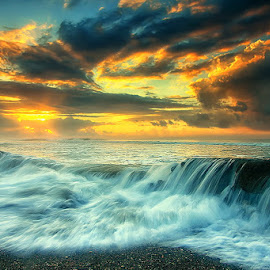 by Agoes Antara - Landscapes Waterscapes ( nature, waterscape, wave, cloud, pwcsunbeams-dq, beach, landscape )