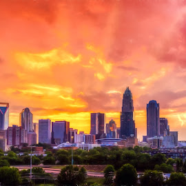 Peach Colored Charlotte by RomanDA Photography - City,  Street & Park  Skylines ( clouds, skyline, building, queen, sunset, horizon, charlotte, dausk, sun rays, city )