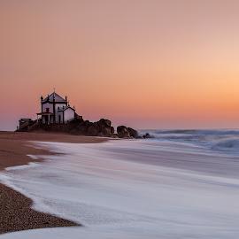 Capela Senhor da Pedra by Nuno Moura - Landscapes Waterscapes ( sunset, colors, sea, ocean, chapel )