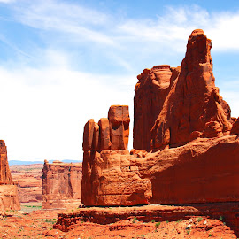 The Courthouse Towers, Moab, Utah, USA by Dipali S - Landscapes Caves & Formations ( america, erosion, sandstone, stone, rock, valley, travel, landscape, usa, geology, sky, nature, arizona, southwest, formation, moab, orange, sand, desert, park, national, canyon, scenic, wilderness, vacation, red, utah, blue, arches, view, double arch )