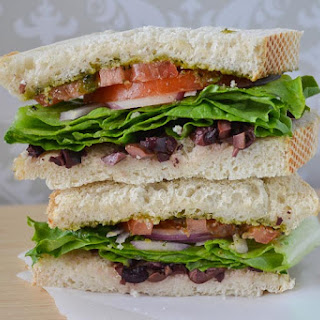 Kalamata Olive and Pesto Sandwich (Vegan Friendly) a.k.a Copycat Corfu Sandwich