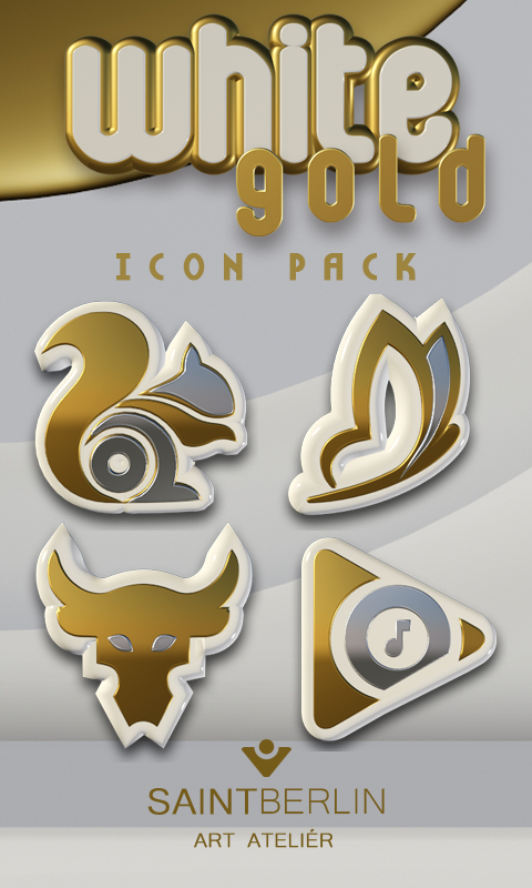 Icon Pack White Gold 3D Screenshot 0