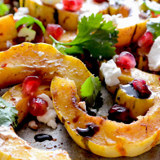 Roasted Squash with Pomegranate and Goat Cheese