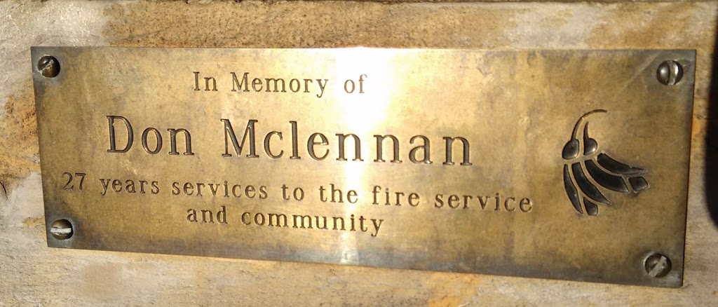 Transcript:In memory of Don Mclennan27 years services to the fire service and communityNote: location is approximate. The plaque is on a seat in the wetlands walk in this area.Submitted by:Judith Swan