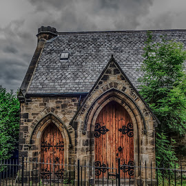 the church door by Adam Lang - Buildings & Architecture Other Exteriors ( roof, tree, church, door, gate )