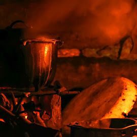 Life in the province by Joj Hiponia - Novices Only Objects & Still Life ( stove, wood, coal, night, philippines, steam )