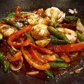Colorful Scallop and Vegetable Stir-fry by Michael Villecco - Food & Drink Cooking & Baking