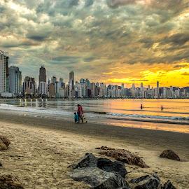 Camboriu Beach at Sunset by Rqserra Henrique - City,  Street & Park  Vistas ( brazil, builds, sunset, rqserra, beach, people, city )