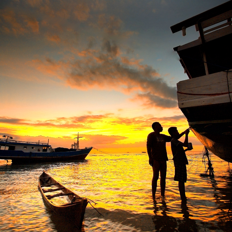 With Father by Aris Winahyu BR - Landscapes Waterscapes ( waterscape, sunset, pwcredscapes )